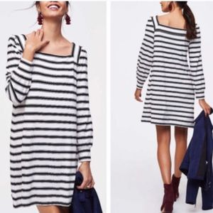 Black and White Striped Long Sleeve Dress